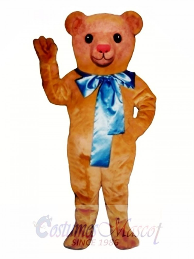Old Fashioned Teddy Bear with Bow Mascot Costume