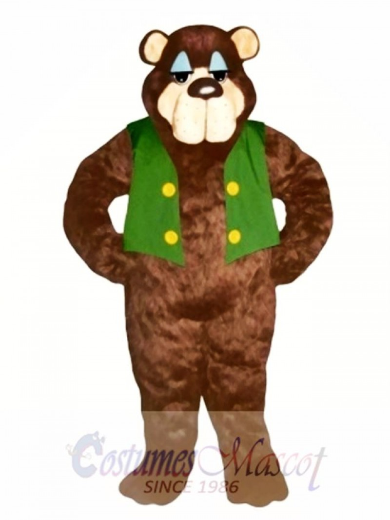 Cute Bramble Bear with Vest Mascot Costume