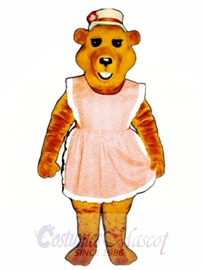 Cute Cheri Bear with Apron & Straw Hat Mascot Costume