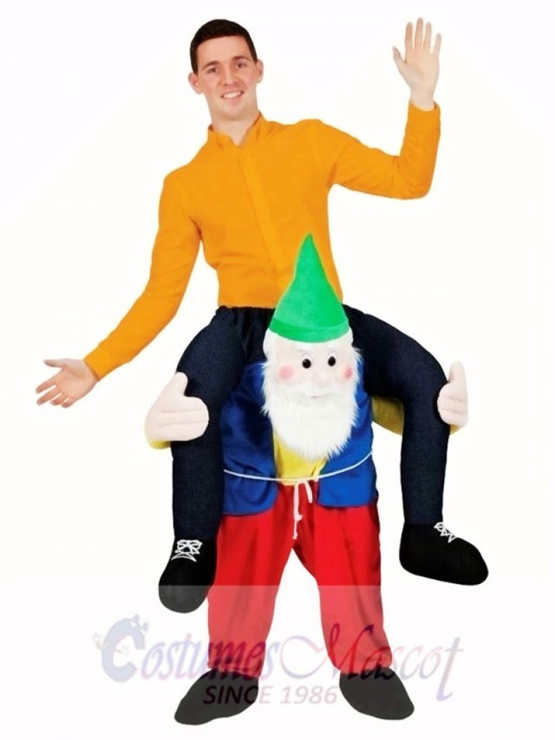 Back Shoulder Garden Gnome Carry Me Mascot Ride Costume Stag Fancy Dress Christmas Funny Outfit