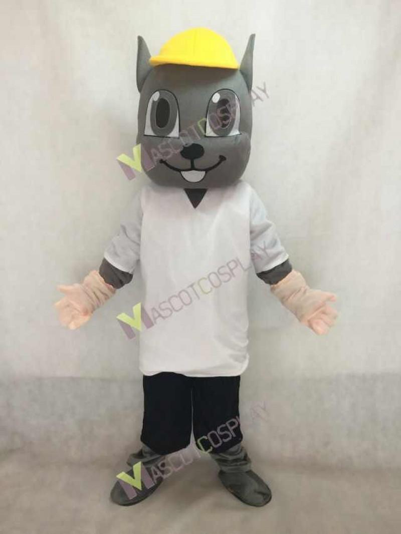 Gray Squirrel Mascot Costume in Yellow Hat