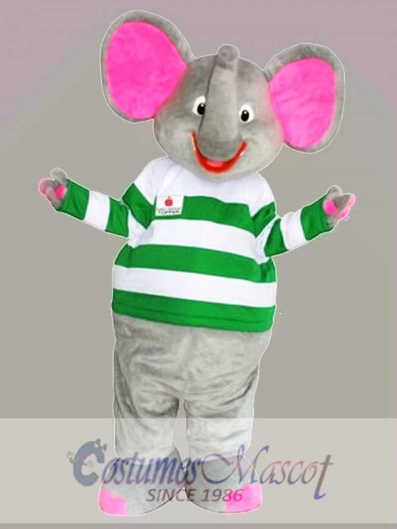 Gray Elephant Mascot Costume with Pink Ears Cartoon