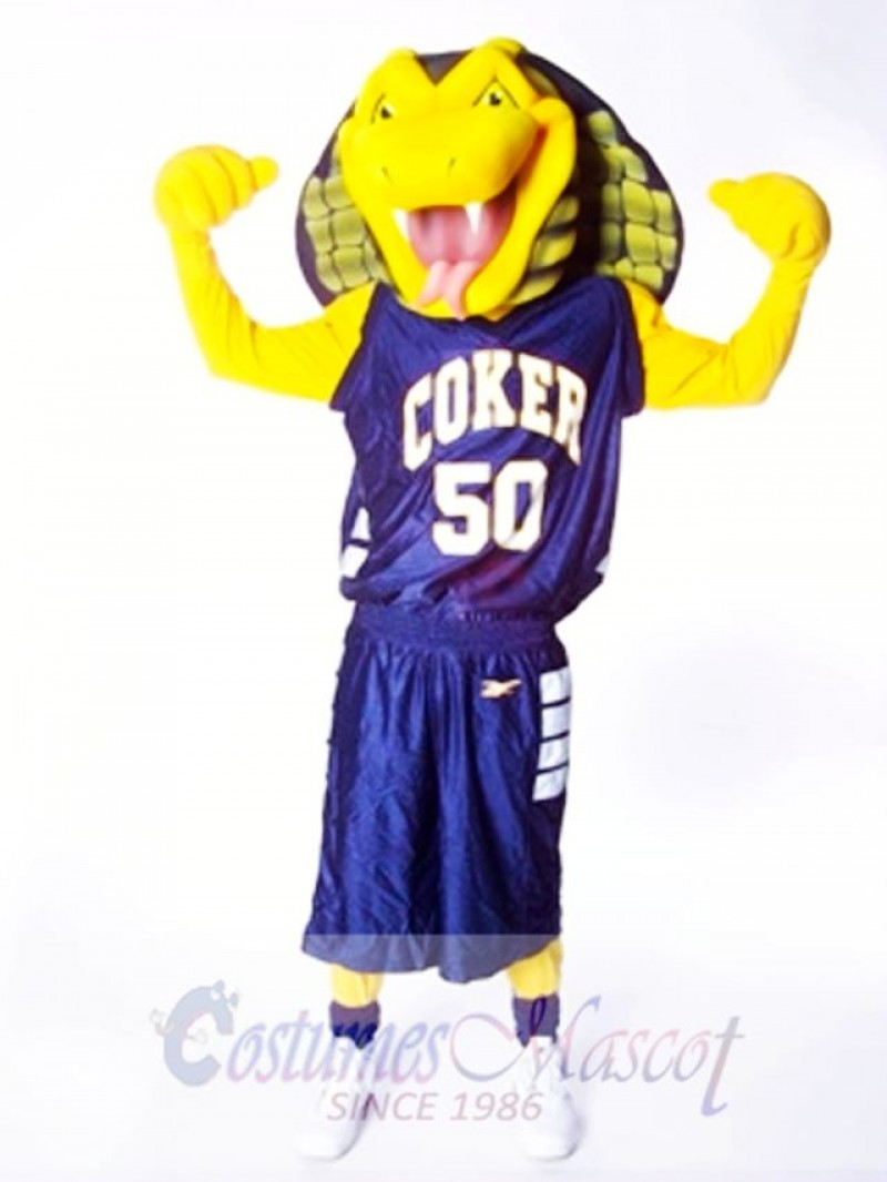 Sports Yellow Cobra Snake Mascot Costume