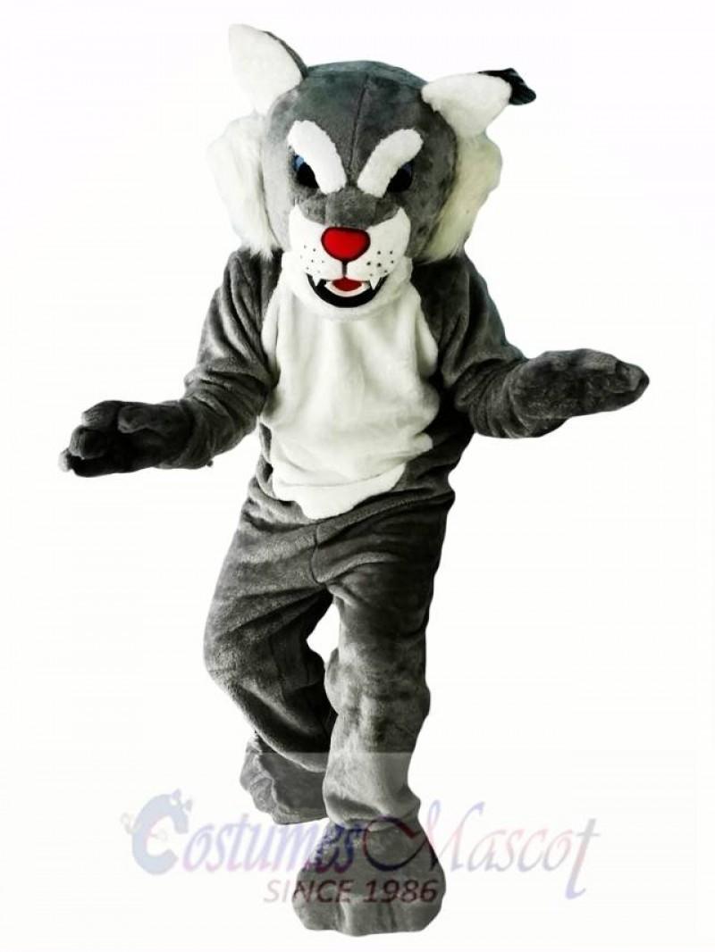 Grey Power Cat Wildcat Mascot Costume