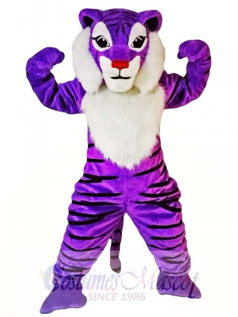 Purple Tiger Mascot Costume