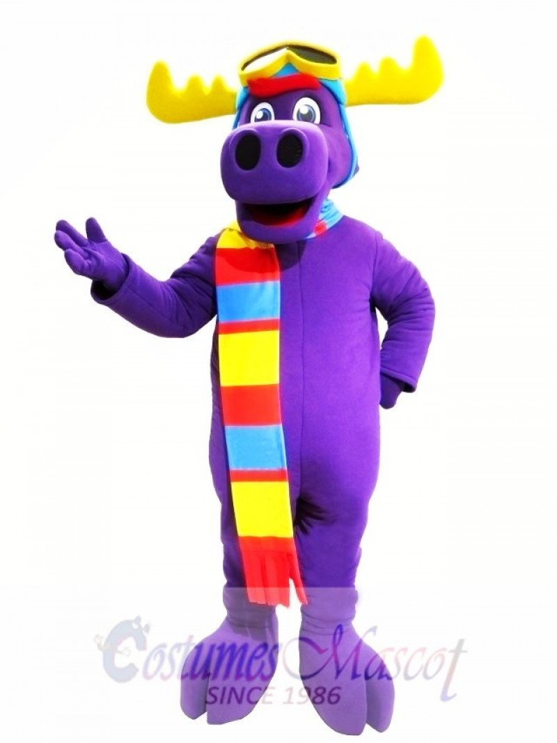 Purple Moose Mascot Costume
