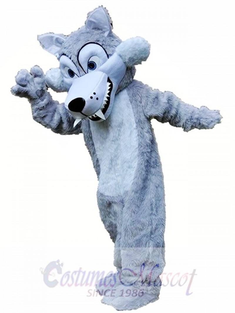 Long Grey Wolf Mascot Costume