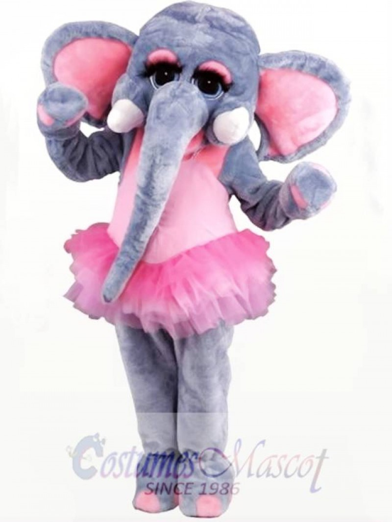 Pink and Gray Female Elephant Mascot Costume