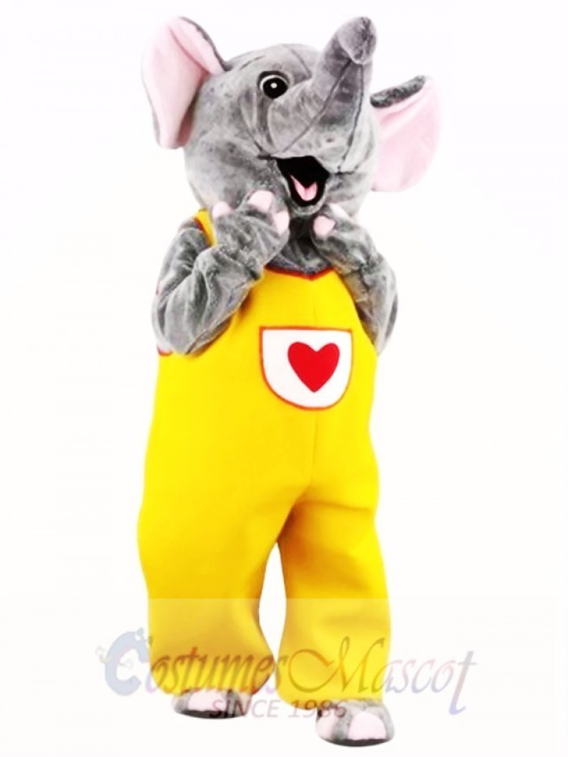 Female Cute Gray Elephant Mascot Costume