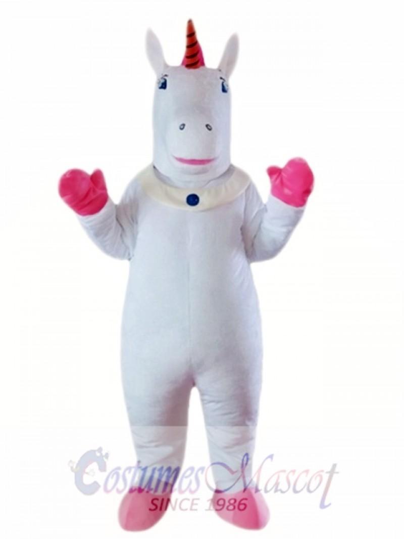 White Unicorn Mascot Costume
