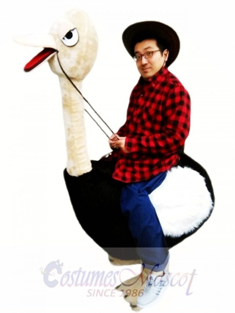 Riding an Ostrich Man Mascot Costume