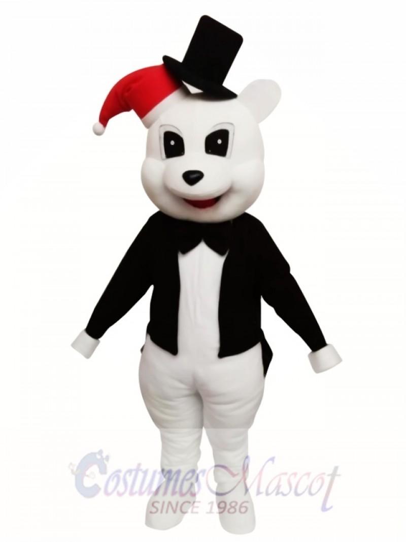 Animal White Bear With Black Jacket Chirstmas Mascot Costume