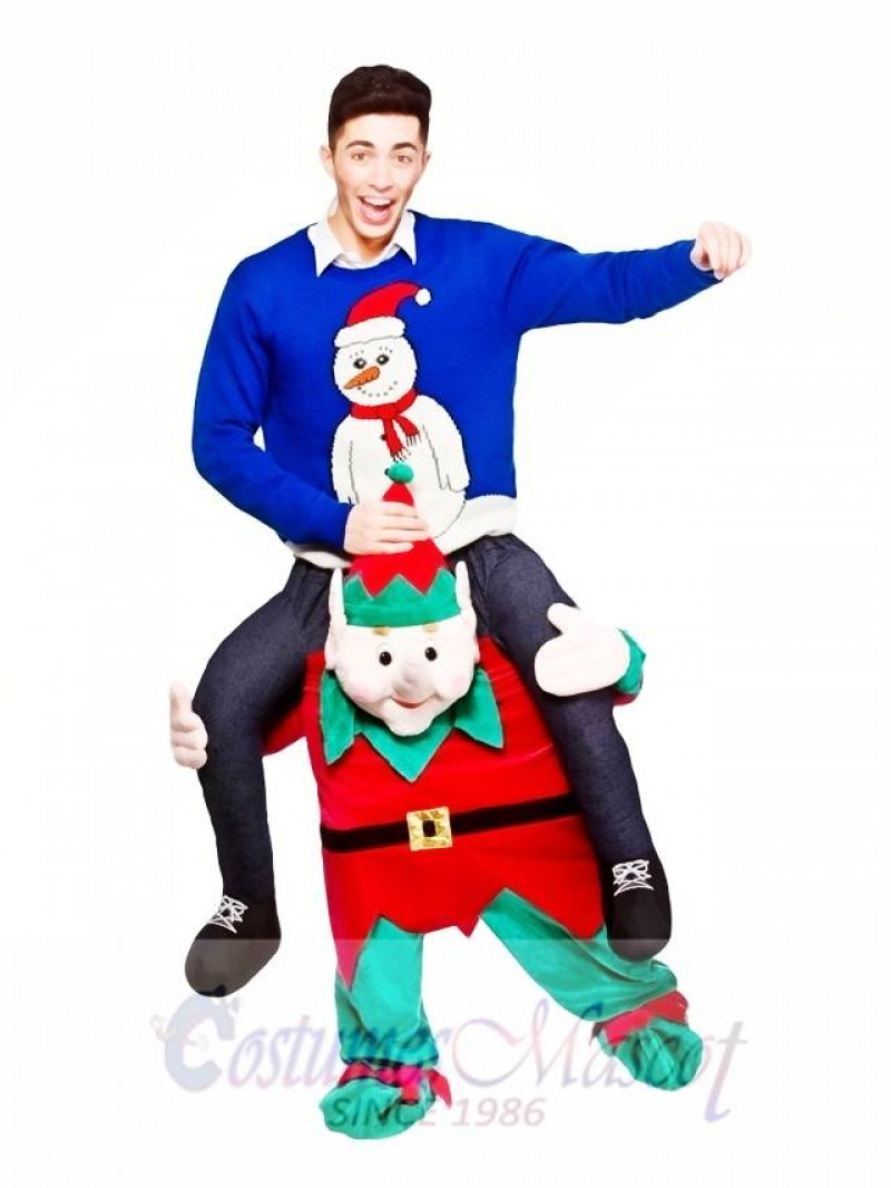 Carry Me Piggy Back Ride On Novelty Elf Mascot Costume