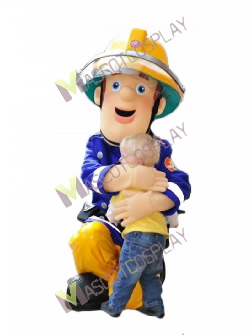 High Quality Adult Fireman Sam Mascot Costume