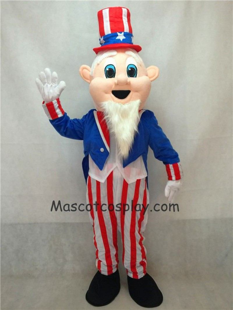 Hot Sale Adorable Realistic New Uncle Sam Patriotic Mascot Costume with Hat