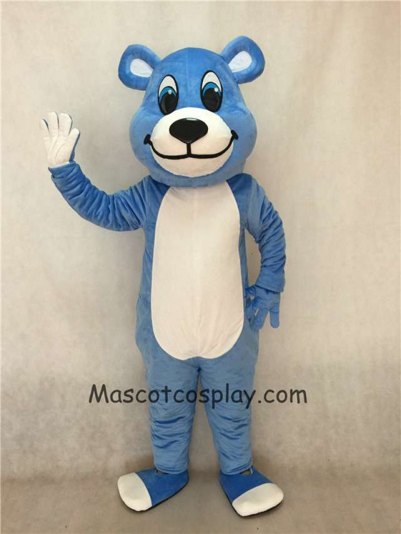 Hot Sale Adorable Realistic New Popular Professional White Belly Blue Bear Mascot Costume with Blue Eyes