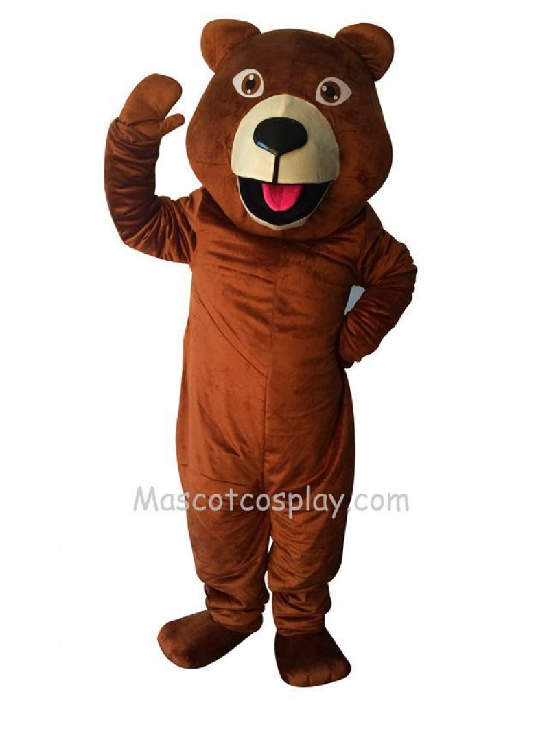 New Happy Brown Grizzly Bear Mascot Costume
