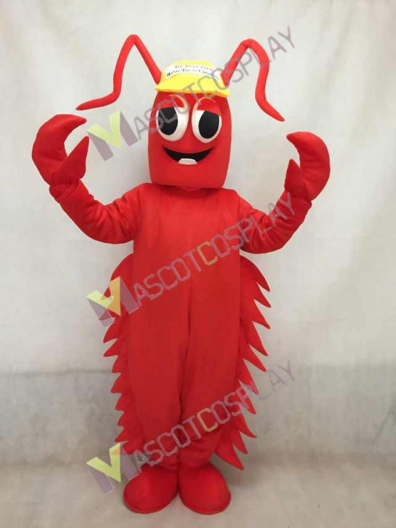 Red Conrad Crawdad Mascot Costume in Yellow Cap