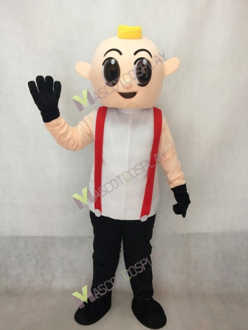 Boy in Black Overalls Adult Mascot Costume