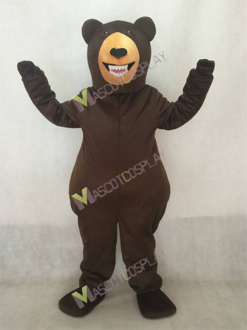 Fierce Dark Brown Grizzly Bear Mascot Costume