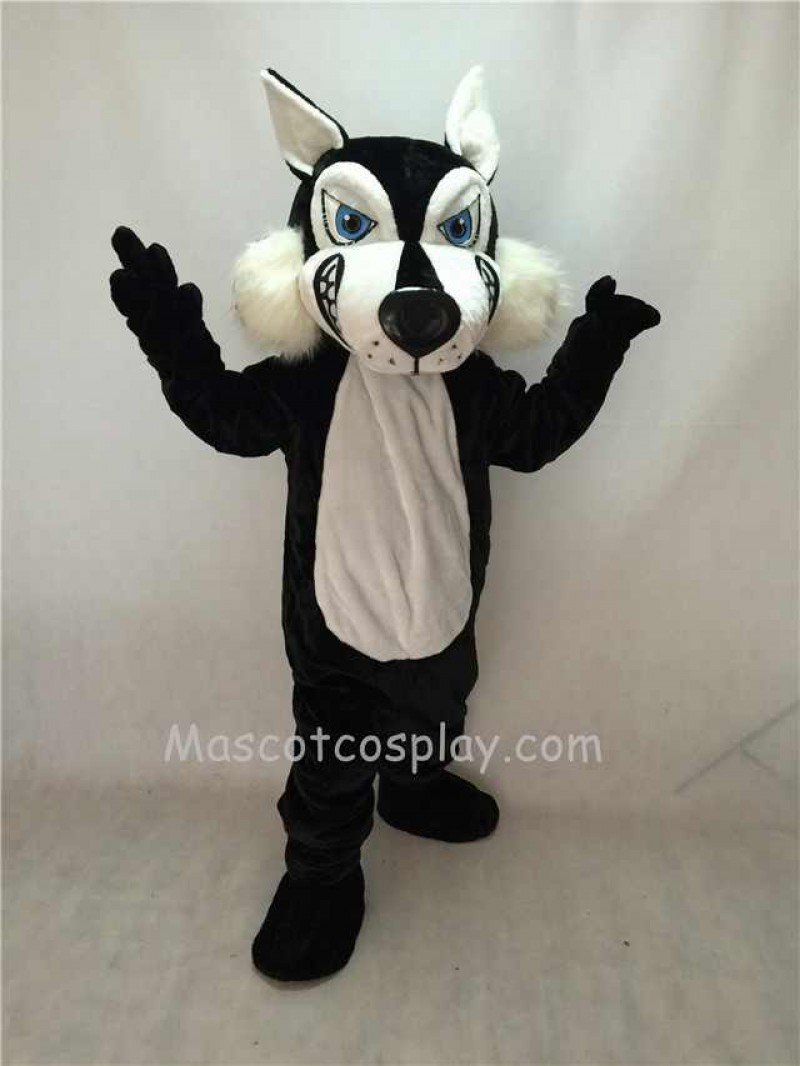 Fierce Adult Black Wolf Mascot Costume