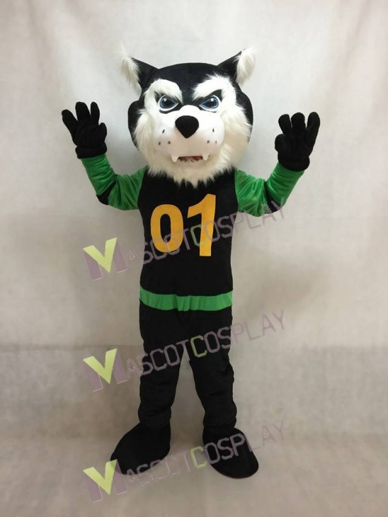 Custom Color Green and Black Shirt Bearcat Mascot Costume