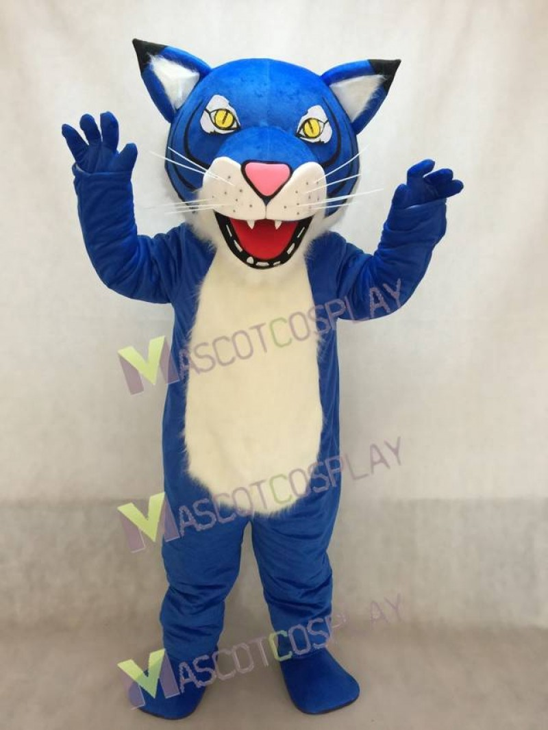 New Fierce Royal Blue Wildcat Mascot Costume