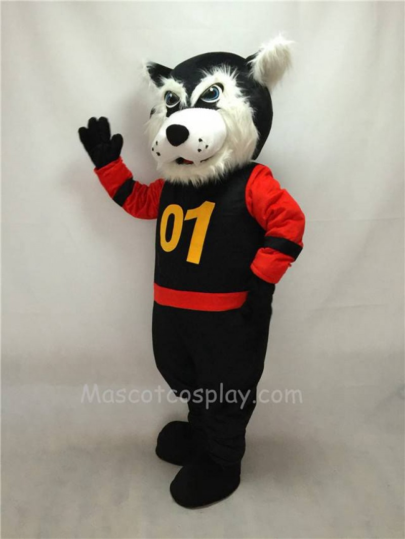 Fierce Black Bearcat Mascot Costume in Red Sleeves Coat