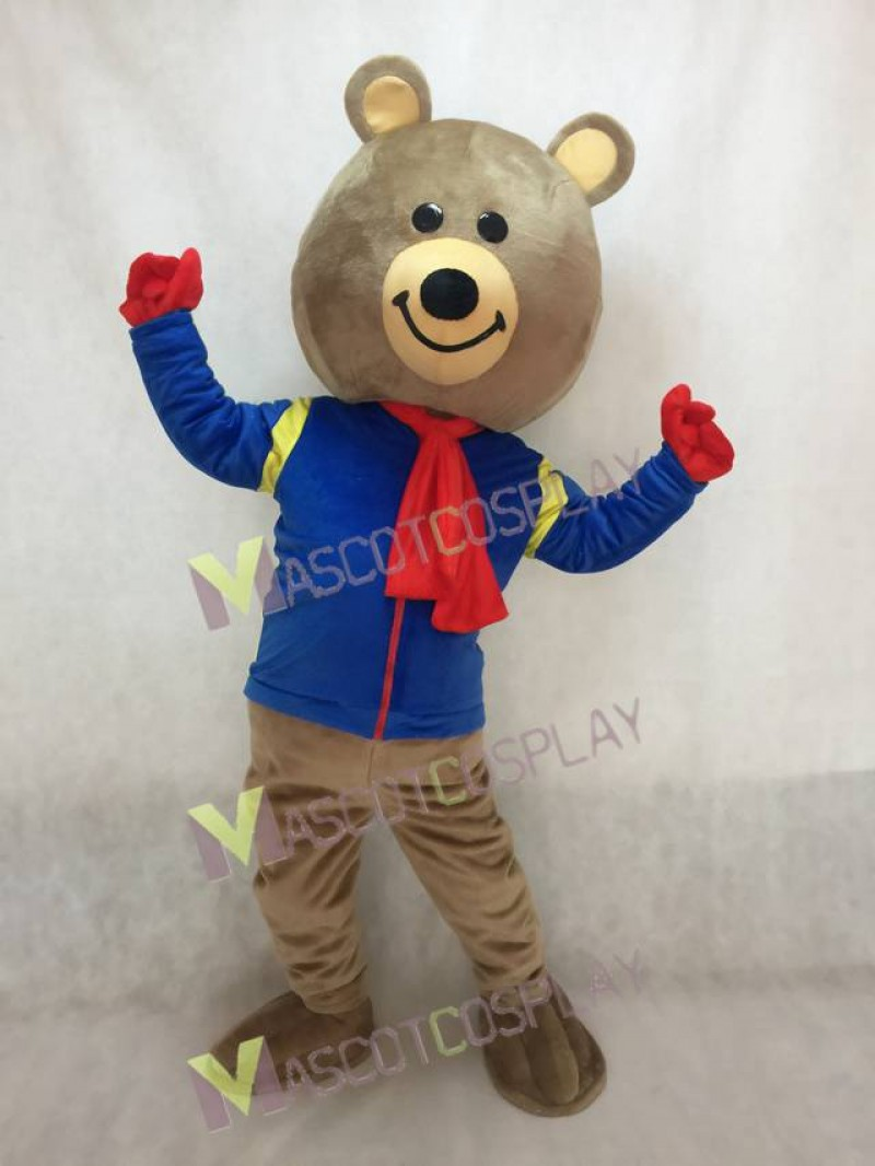 Cute Brown Brisky Bear Mascot Costume with Blue Shirt