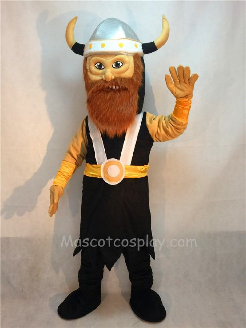 Fierce Victor Viking Mascot Costume with Brown Beard