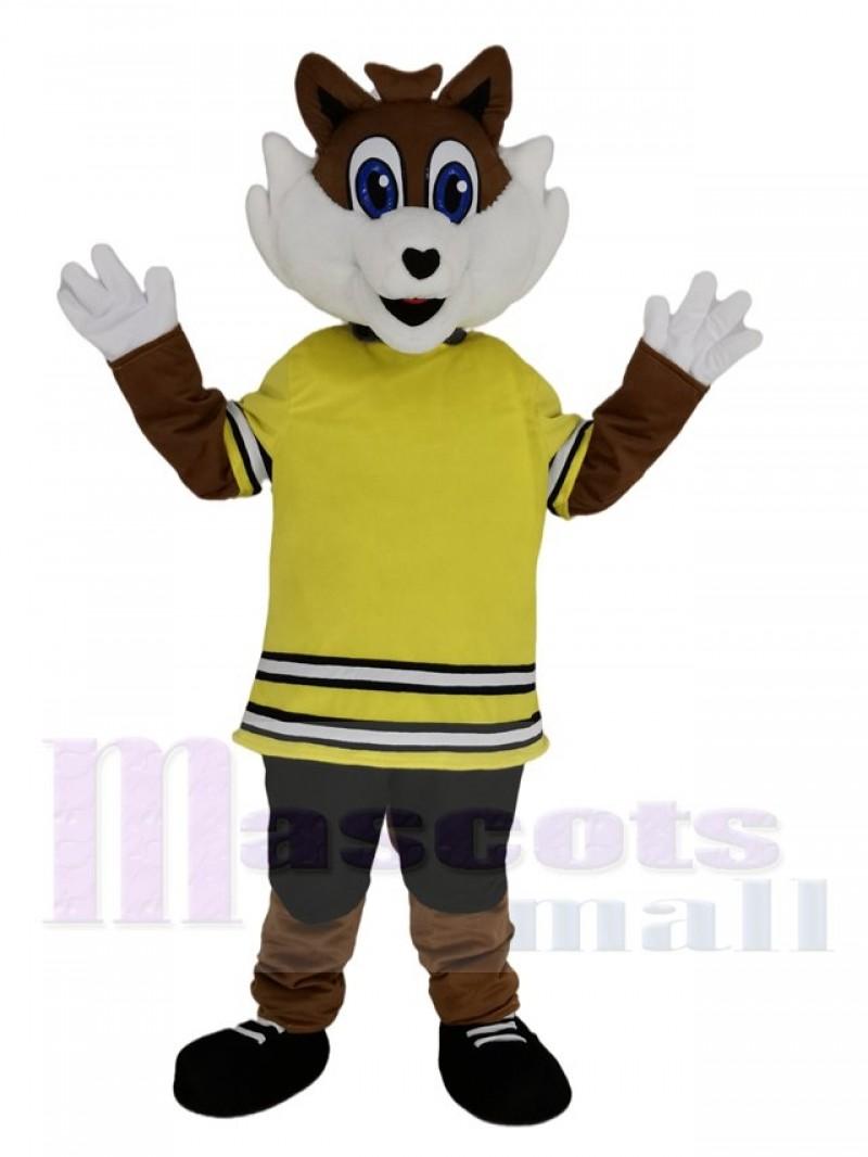 Sport Fox in Yellow T-shirt Mascot Costume