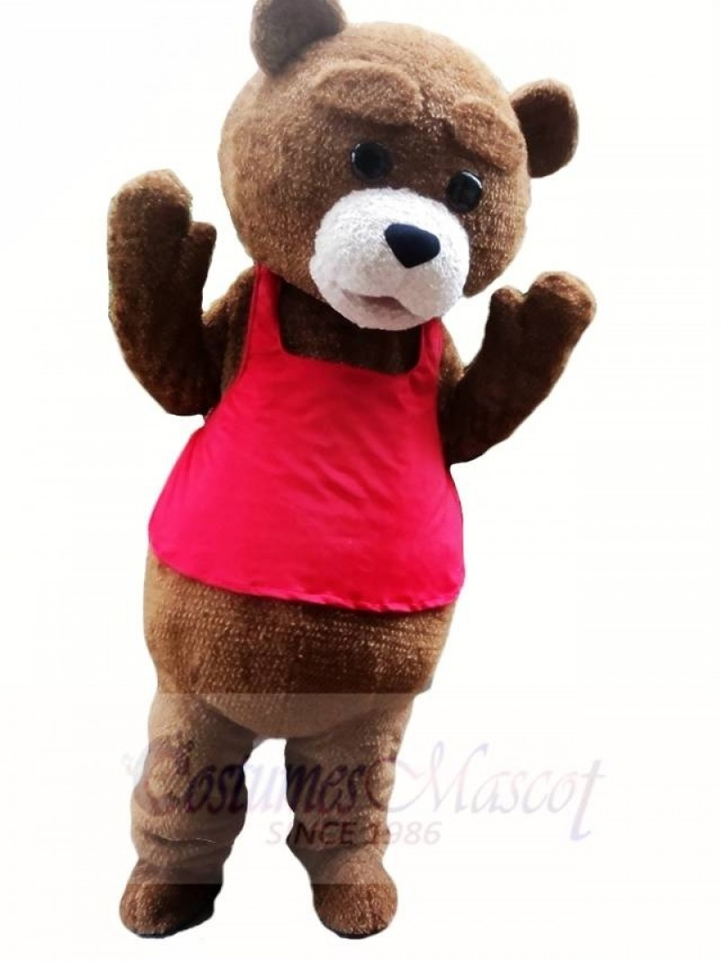 Brown Teddy Bear in Red Vest Mascot Costumes Animal