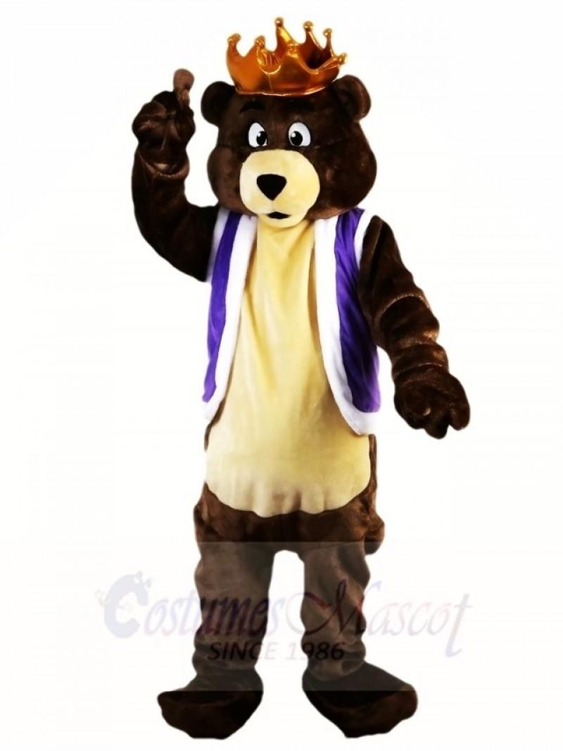Dark Brown King Bear with Crown Mascot Costumes Animal