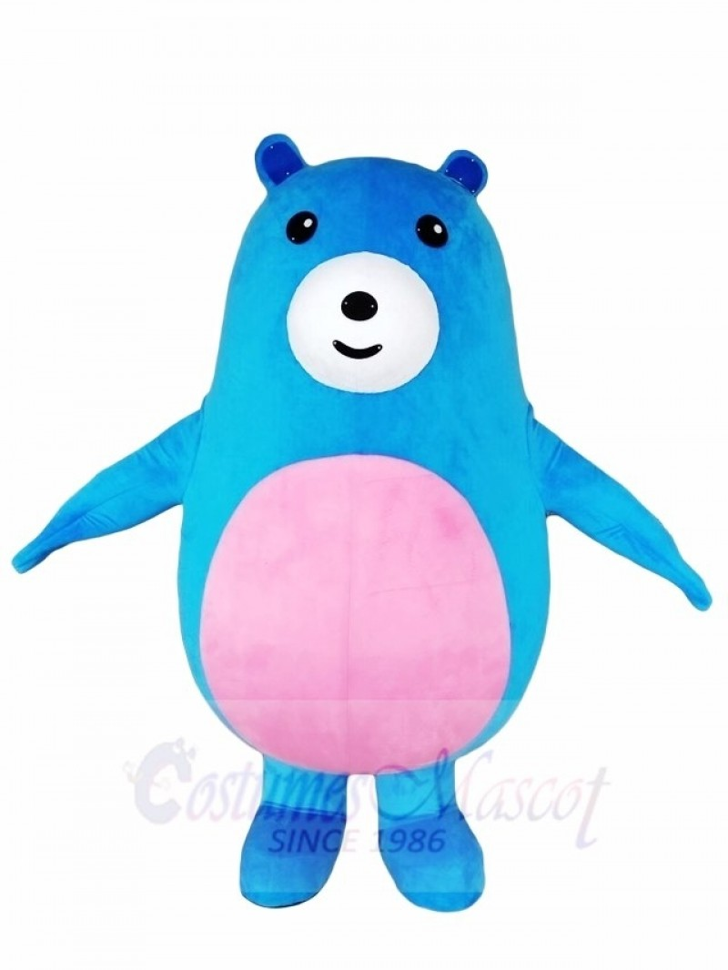 Pink Belly Blue Bear Mascot Costumes Animal