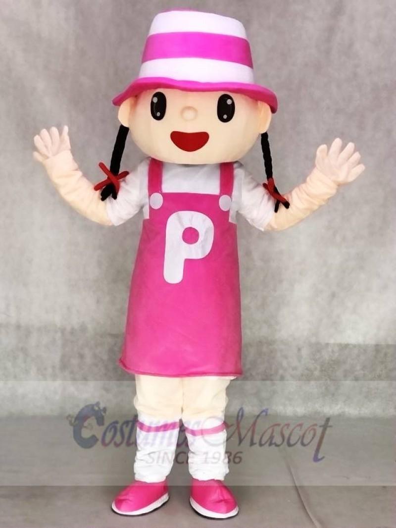 Cute Pink Hat Girl Mascot Costumes Animal