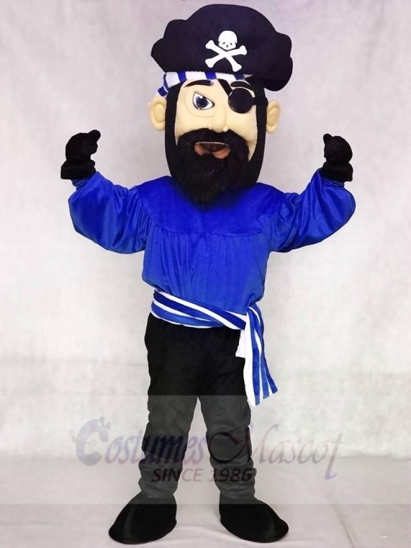 High Quality Adult Fierce Dark Blue Pirate Mascot Costume