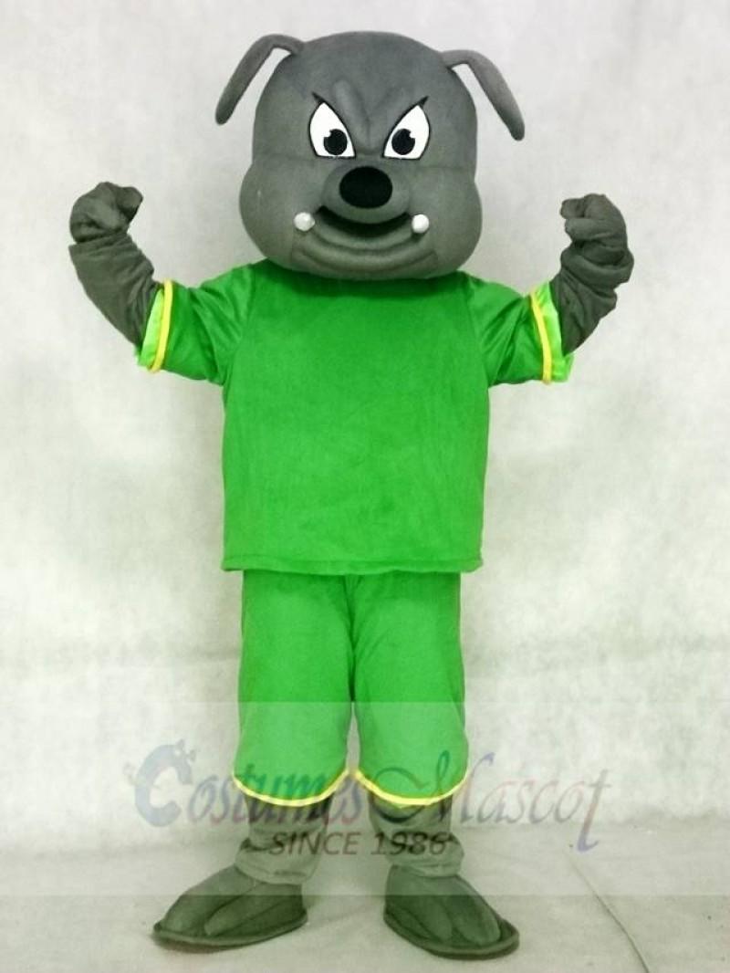 Gray Bulldog Mascot Costumes Animal with Green Shirt