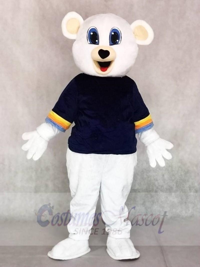 Cute White Bear with Black Shirt Mascot Costumes Animal