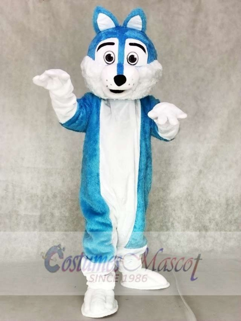Blue and White Wolf Fursuit Mascot Costumes Animal