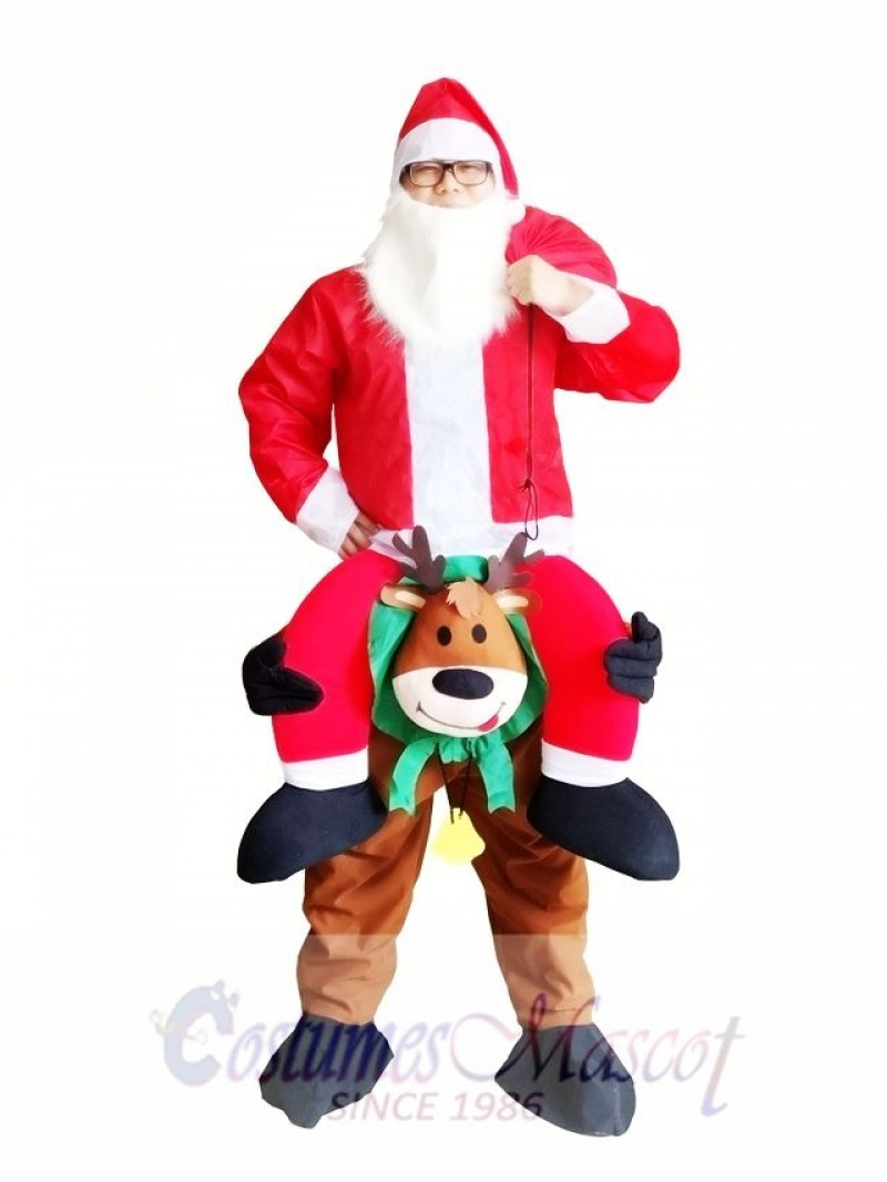Reindeer Carry Me Mascot Costume Reindeer Carry Santa Claus Father Christmas Fancy Dress