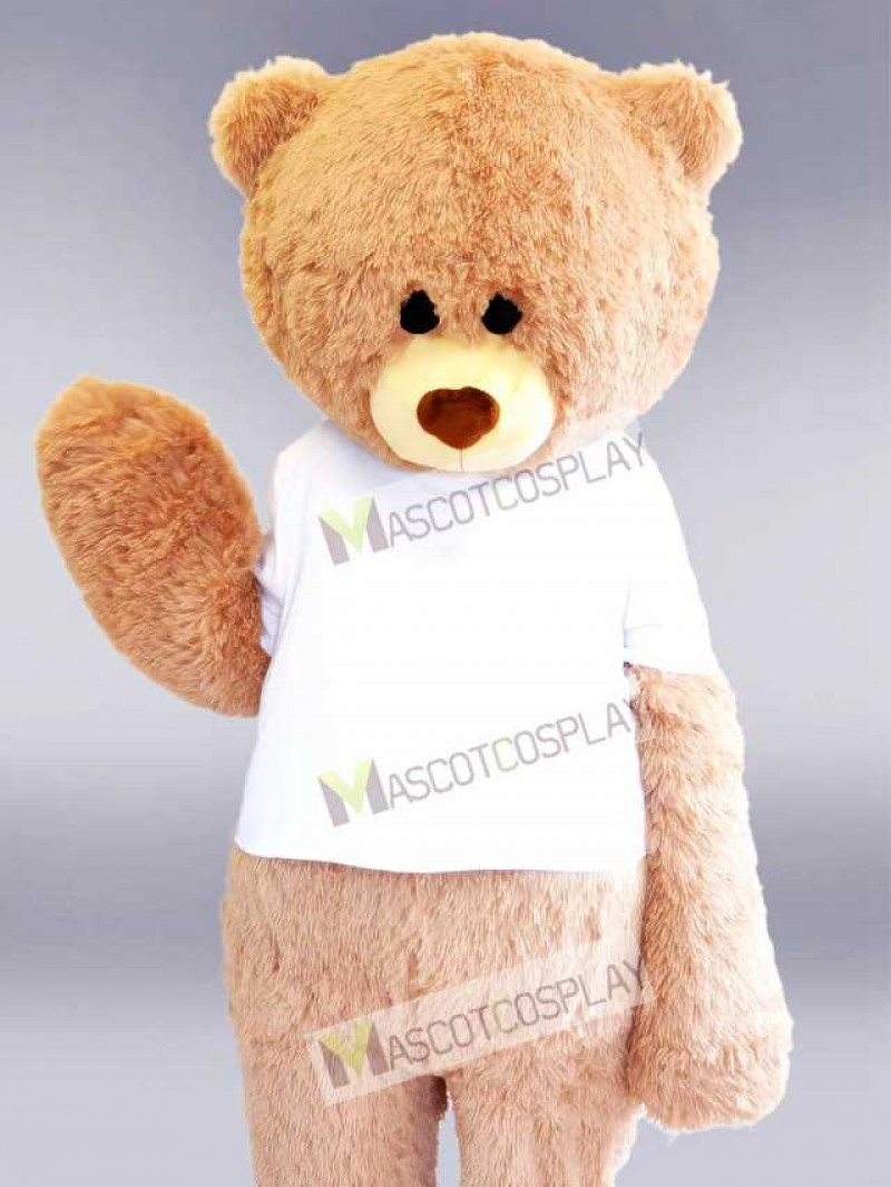 White Shirt Beige Bear Mascot Costume