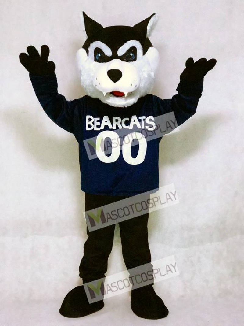 Cute Navy Blue Bearcat Mascot Costume