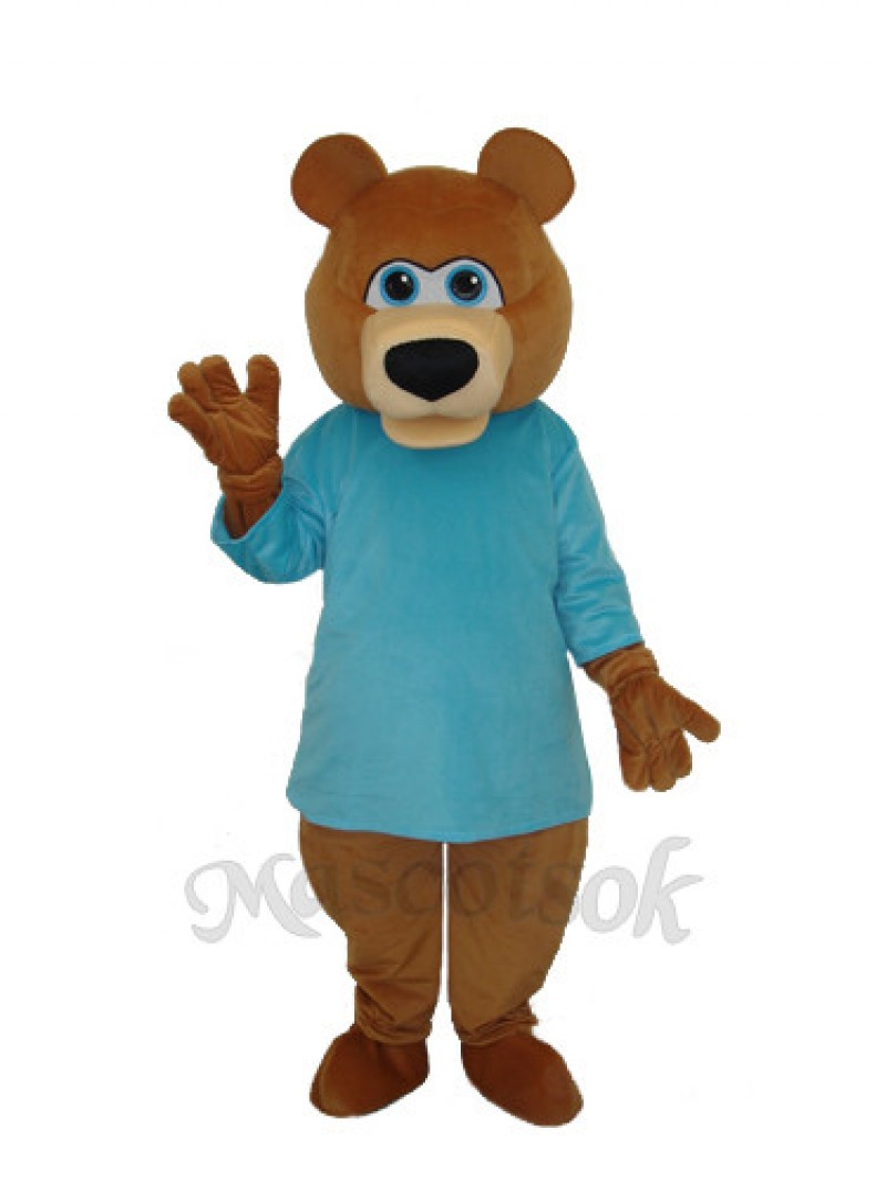 Mr.Bear in Blue T-shirt Mascot Adult Costume