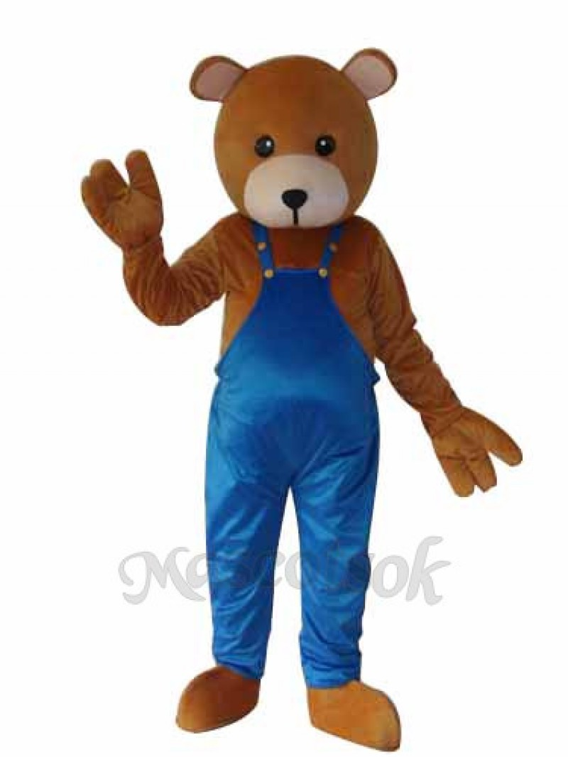 Teddy Bear in Overalls Mascot Adult Costume