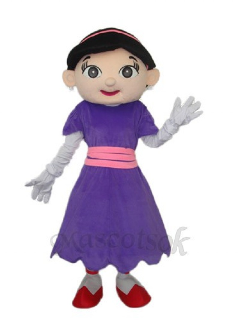 Purple Skirt Girl Mascot Adult Costume