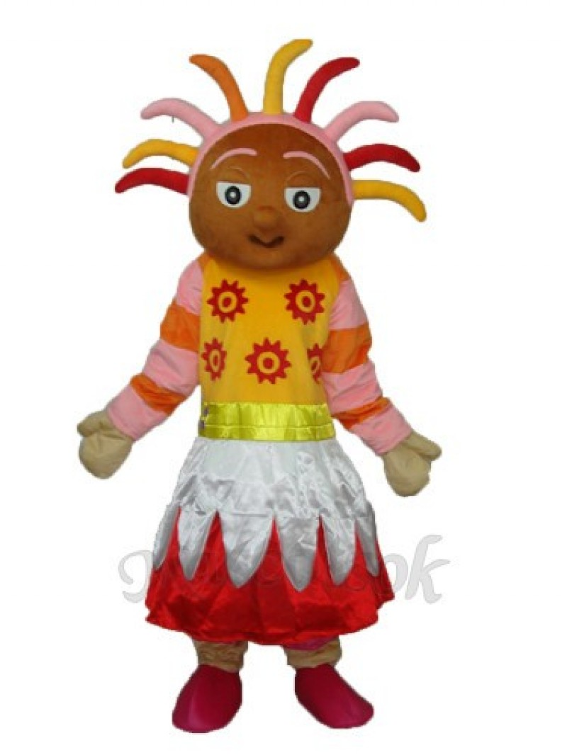 Pink Girl (brown face) Mascot Adult Costume
