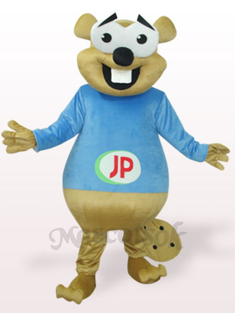 Blue Bear With Big Teeth Plush Adult Mascot Costume