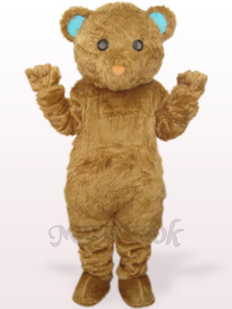 Brown Long Hair Bear Plush Adult Mascot Costume