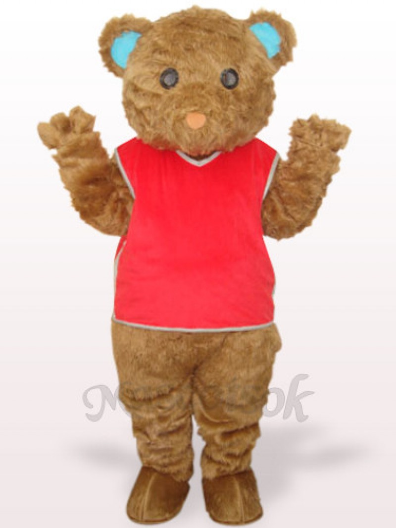 Brown Long Hair Bear With Red Waistcoat Plush Adult Mascot Costume