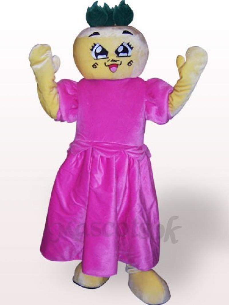 Flat Head Girl Plush Adult Mascot Costume